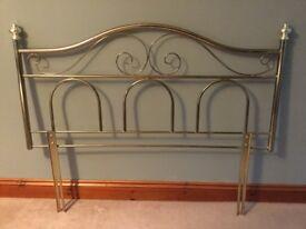 Brass effect double bed headboard