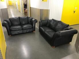 2x black genuine leather sofa, Free delivery