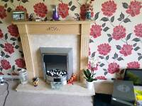 Electric fire, surround and mantel piece