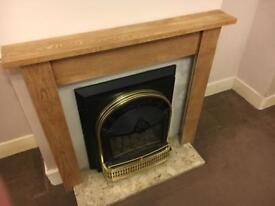 Gas fire, surround and marble arth
