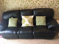 3 Seater Leather Reclining Sofa - Black - Excellent Condition