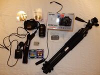 CANON EOS 500D WITH EF-S 18-55 LENS + CANON EF-S 55-250 ZOOM LENS + GIOTTOS PRO TRIPOD + MORE