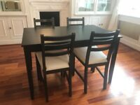 Ikea Lerhamn 4 seater dining table and chairs (Black)