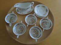 Aynsley Cottage Garden bone china - 12 pieces. Cream soup cups and saucers; gravy boat