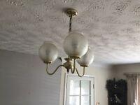 2 three arm brass ceiling lights