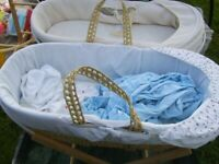 3 x moses baskets and stands