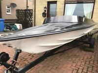 Fibreglass speed boat and trailer