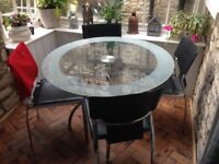 Italian inspired modern Glass round dining table plus 4 chairs