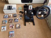 Logitech G27 Steering Wheel including stand & Playstation 3 console + games - excellent condition