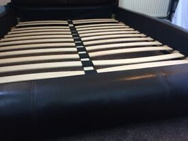 Brown Double Leather Bed
