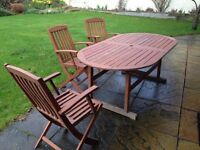 Solid Wood Garden Table and 6 Chairs