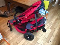 Phill and Tedds Red sport all terrain double baby pushchair jogger