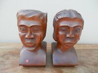 2 carved African heads possibly bookends