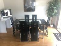 Glass Dining Room Table with 6 chairs