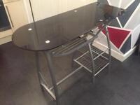 KITCHEN BREAKFAST BAR - Black Glass & Chrome