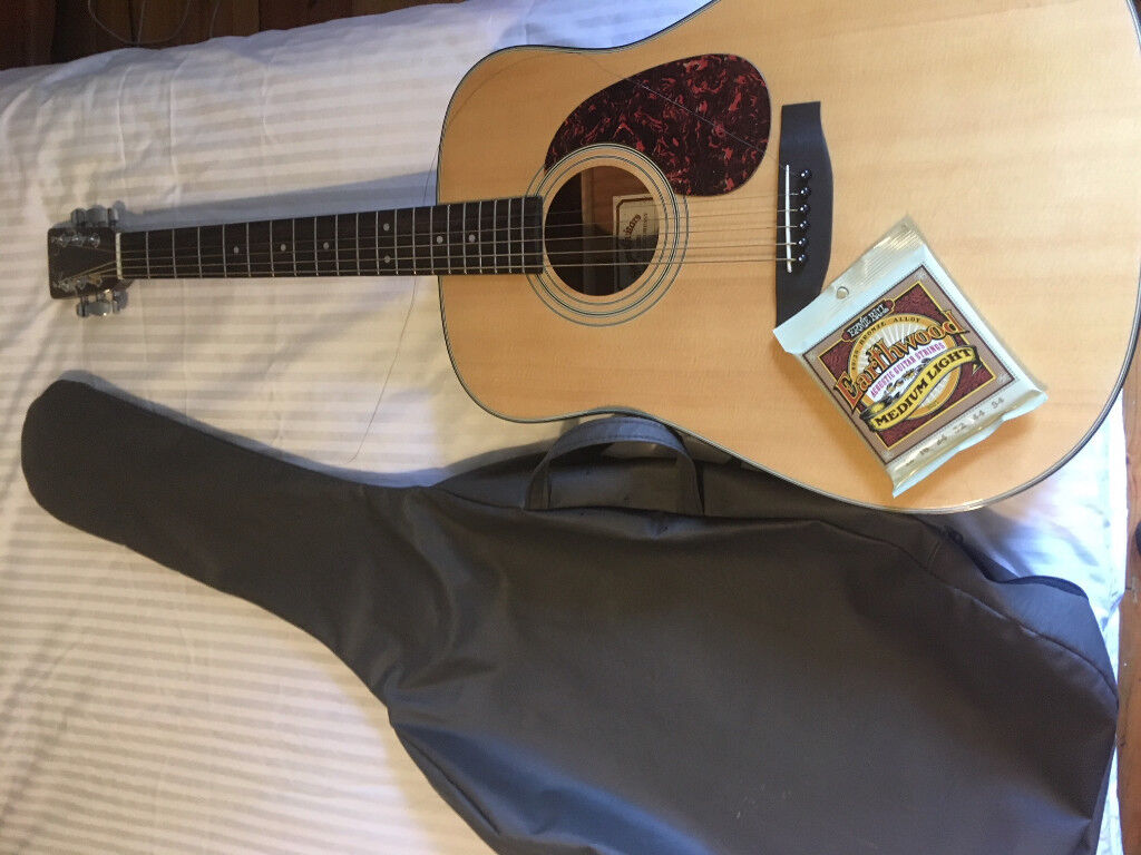 Hardly Used Sigma Dm2 Acoustic Guitar With Case A Set Of Strings