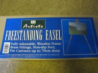 Two wooden boxed art easels. Used once. Great condition. Adjustable. For canvases up to 70cm deep.