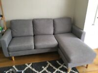 Brooke Corner Sofa in Grey, Solid wood & plywood with sprung
