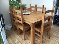 "6/8 Seater Table & 6 Chairs. Pine. ""Corona"" Furniture Range. Great Condition! £ Best Offer Accepted!"