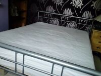 King size metal frame bed and mattress