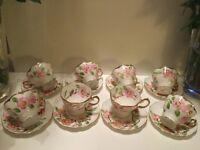 STUNNING HAND PAINTED FLORAL DESIGN CHINA TEA SET
