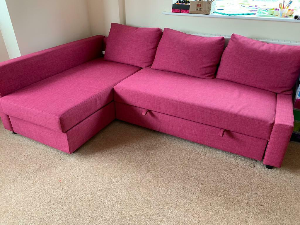Hot Pink Ikea Friheten corner sofa bed with storage   in ...