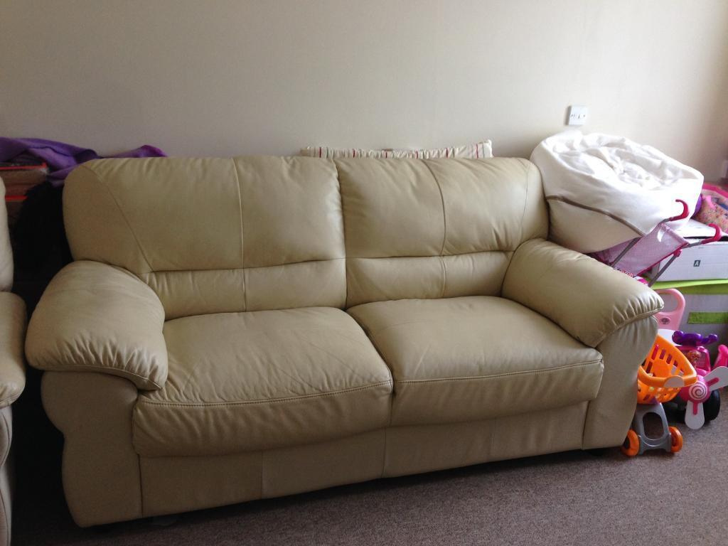 3 seater cream leather sofa and recliner chair