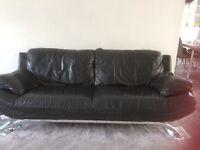 Black leather 3 seater sofa