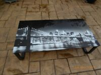Black Metal & Glass Rectangular Coffee/Occasional Table in Excellent Condition