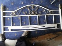 Brass and white metal double headboard good condition