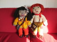 Large Pair of Old Narrow Boat Rosie and Jim Hand Knitted Dolls 25inc Tall