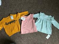 Baby girl new tops with tags 6-9 months