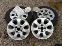 """15""""Alloy wheels c/w Peugeot studs and caps, 4 stud"""