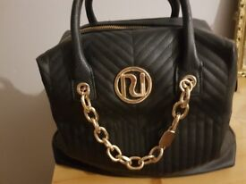 LOVELY LUSH RIVER ISLAND BLACK BAG WITH GOLD DETAIL N ZIP