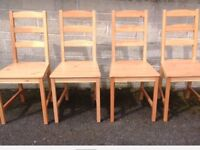 4 IKEA SOLID PINE WOOD DINING CHAIRS