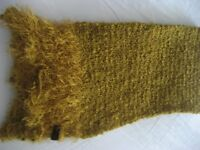 Scarf, Gold Textured Wool, Made in Italy