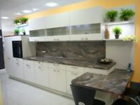 As new German Manufactured ex-display kitchen in Savanah units with laminated worktop