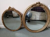 Antique Style Oval Wall Mirrors with Gold Borders