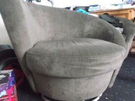 2 X SWIVEL ARM CHAIR GREY