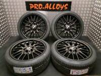 "18"" BMW MV1 ALLOY WHEELS AND NEW TYRES REFURBISHED GLOSS BLACK 5x120 M SPORT VIVARO"