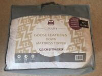 Luxury Goose feathers & down mattress topper 12.5cm extra deep for a small double 4ft 120x190cm