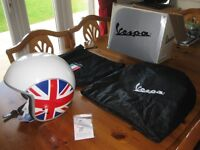 Genuine Vespa open face crash helmet white with union jack on sidesNew never worn size UK medium.