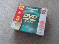 An unopened pack of 15 Panasonic Ram Discs.
