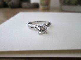 950 Platinum 1.25ct Solitaire Brilliant Cut Round Diamond Engagement Ring Size M