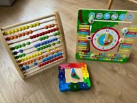 Wooden Weather/Date/Time Chart, Jigsaw Clock and Abacus