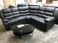 Black Corner Recliner sofa NEW