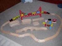 Childs Wooden Railway Track and Carriages