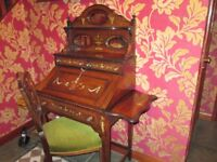 French Victorian Rose Wood Ladies Victorian Bureau / Writing Desk