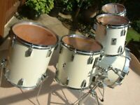 Sonor Sonor-phonic Plus drum shell pack - '80s - Vintage - 9-ply Beech - White wrap