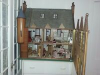 large dolls house with furniture made by a craft maker working lights not a toy a one of dolls hous